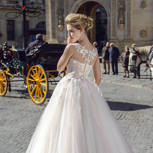 Image 5 - BAZIIINGAAA فستان زفاف فاخر حريري الأورجانزا زين على شكل حرف v بدون أكمام دانتيل فستان زفاف دعم خياط
