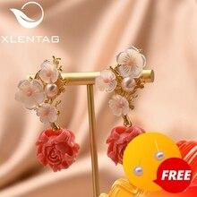 Xlentag天然真珠のイヤリングシルバー925sのイヤリング女性のアクセサリー結婚式の豪華なインディアンジュエリー韓国イヤリングGE0024