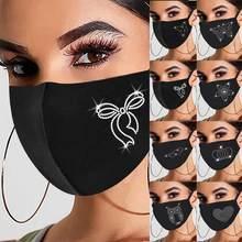 Feminino broca ao ar livre reutilizável respirável moda gelo à prova de vento máscara carta e-lement strass padrão máscara à prova de poeira #2