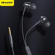AWEI PC-1 спортивные наушники 3,5 мм Джек стерео звук музыка проводные наушники мини-вкладыши встроенный микрофон для телефона
