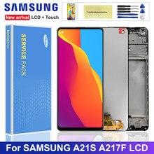 Oryginalny 6.5 ''wyświetlacz do Samsung Galaxy A21s A217 A217F/DS wyświetlacz LCD ekran dotykowy Digitizer zgromadzenie z ramą wymiana