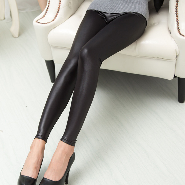 Everbellus Faux Leather Leggings For Women Sexy Slim Black Low Waist Matte Leggins Thin&Thick Elastic Smooth Fitness PU Pants