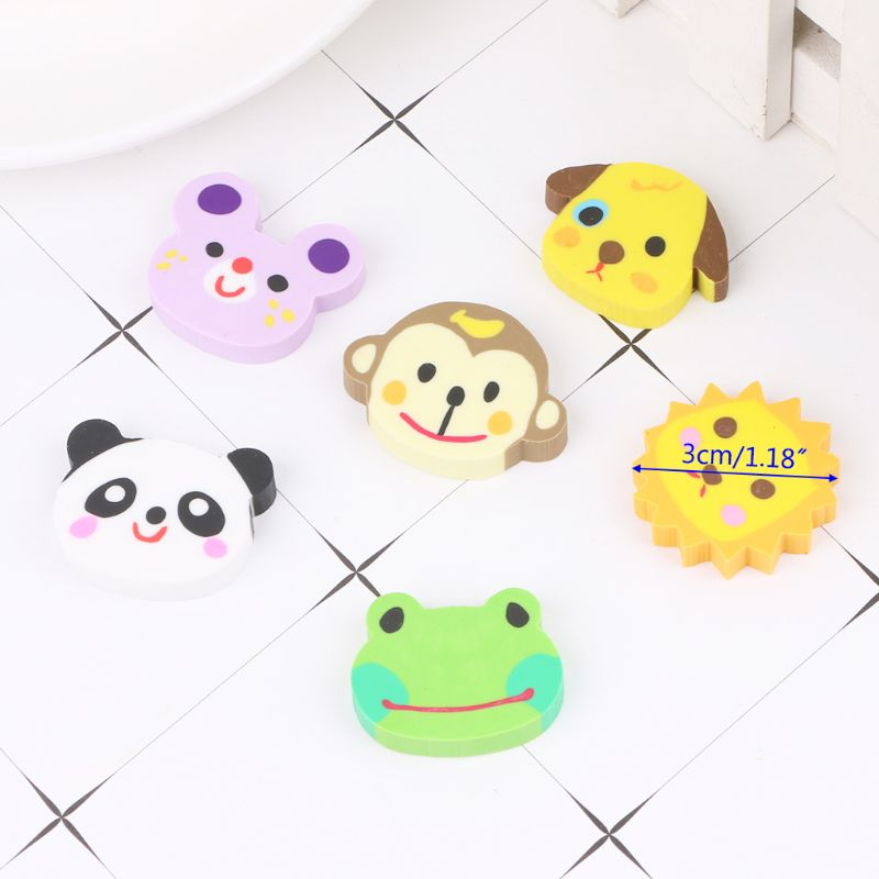 6pcs/set Animal Head Zoo Creative Pencil Erasers Cute Kids Gift Novelty School Stationery For Student LX9A