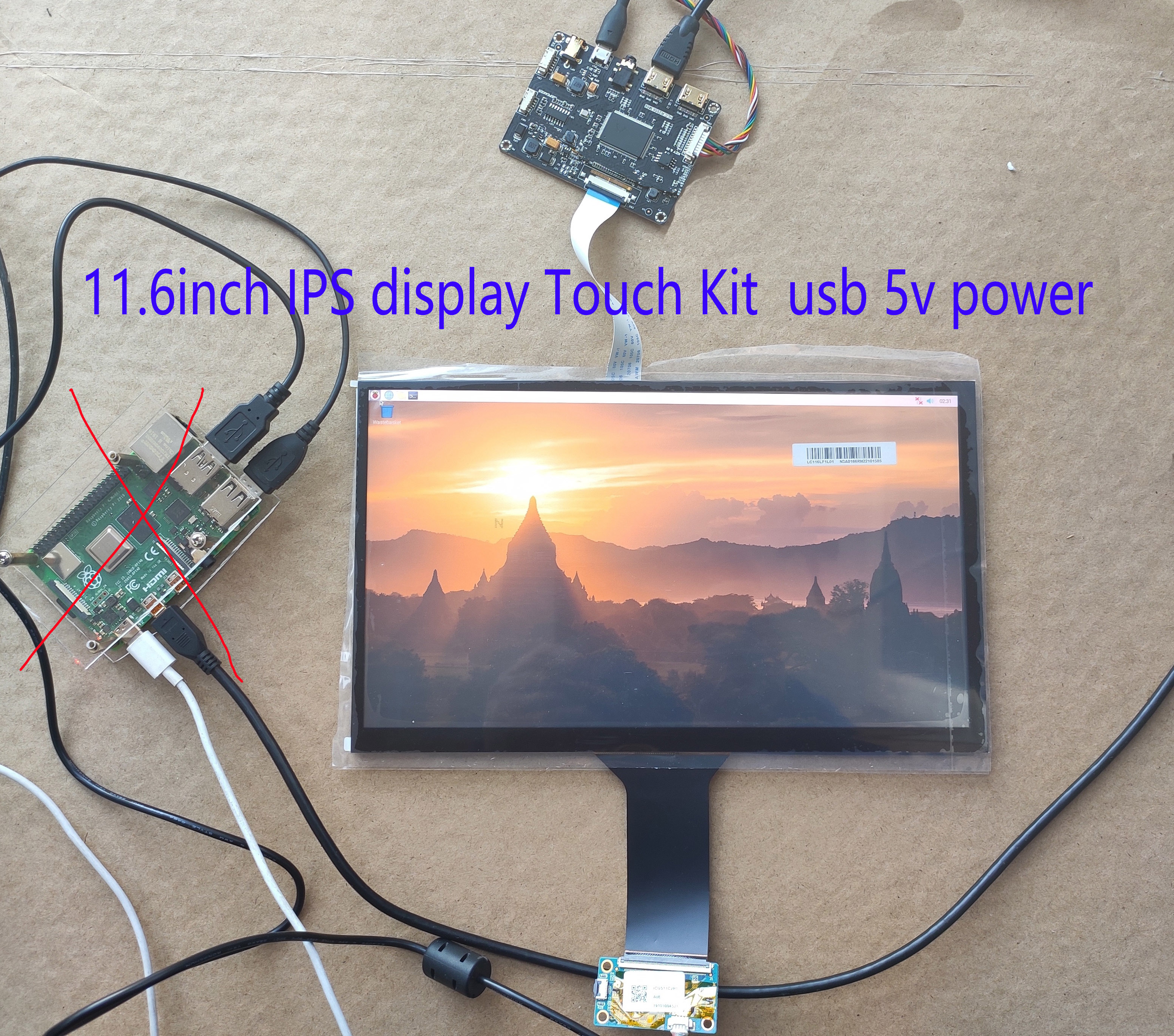 11.6inch 1920*1080 FHD High Resolution And High 600ccd IPS LCD EDP 30pin With  Mini Driver Board USB Touch Screen 10fingers