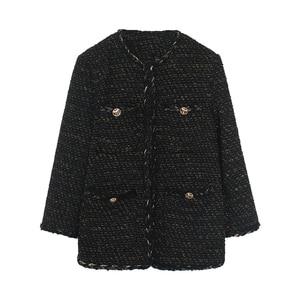 Image 3 - Vintage Black Tweed Jacket 2019 New Autumn Winter Fashionable Woolen Elegant OL Female Coat
