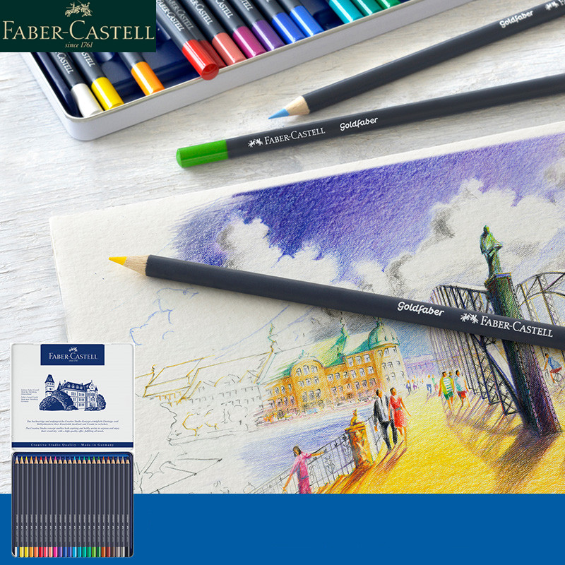 faber castell azul serie goldfaber oleo cor lapis multi cor caixa de ferro colorido profissional pintura