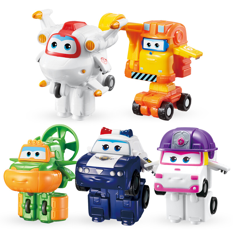 5pcs/set Mini Super Wings Deformation Mini Airplane ABS Robot Toy Action Figures Super Wing ZOEY/SCOOP Transformation Toys