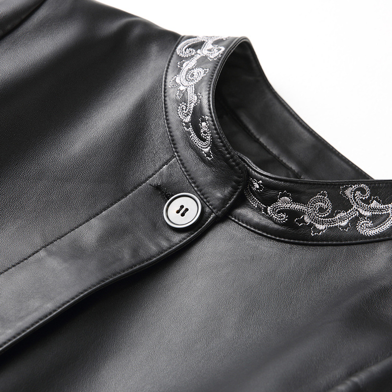 Autumn Winter New Leather Jacket Women's Long Sheep Leather Embroidered Coat with Pocket High Quality Black Leather Jacket Coats