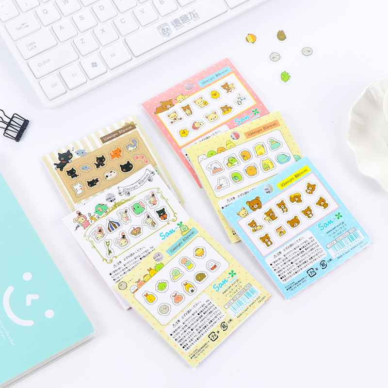 80 pcs/bag Japanese Stationery Stickers Cute Cat Sticky Paper Kawaii PVC Diary Bear sticker For Decoration Diary Scrapbooking 3