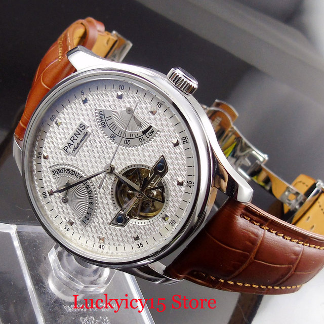 PARNIS Men Watch 43mm Wristwatch Power Reserve Auto Date Indicator Leather Strap Hollow Dial Special Design