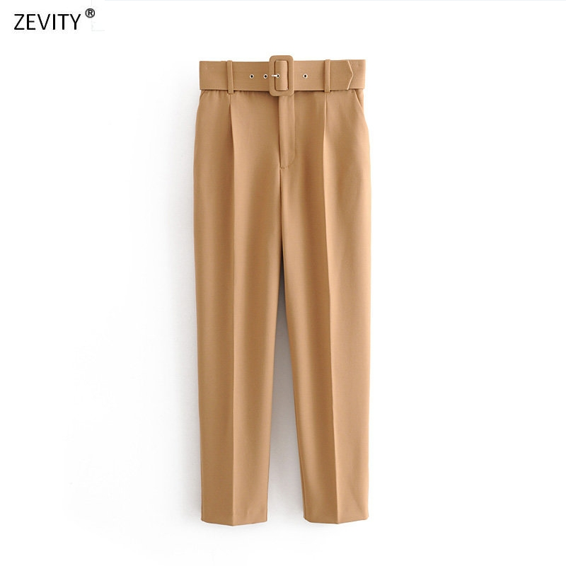 Retro Pants Business-Trousers Chic Zipper Solid-Color Casual Fashion Women Female Mujer