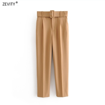 Women fashion solid color sashes casual slim pants chic business Trousers female fake zipper pantalones mujer retro pants P575