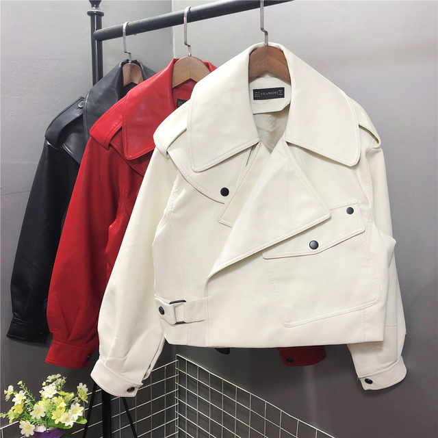FTLZZ New Spring Women Faux Leather Jacket Biker Red White Coat Turndown Collar PU Motorcycle Jackets Loose Streetwear Outerwear 4