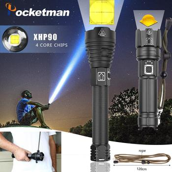 La más alta lúmenes, la más potente linterna LED XHP90 de largo alcance con Zoom táctico XHP70.2, lámpara de antorcha LED con batería 26650 de gran alcance