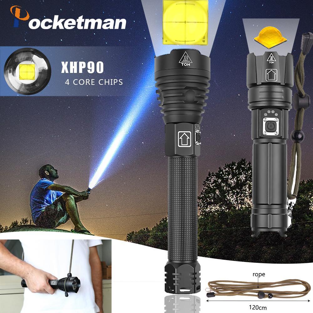 Lampe de poche à longue portée XHP90, la plus puissante des ampoules XHP90 à longue portée Zoom tactique utilisation d'une batterie 26650 grande capacité