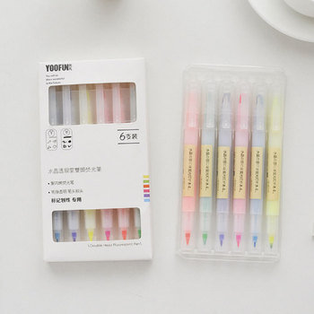6PCS/Set color drawing painting watercolor art double head marker pen writing brush school office supplies