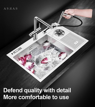 цена на Asras 7648X+3063 SUS304 handmade kitchen sink multipurpose water sprinkler with drainer and kitchen tap free shipping DHL