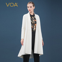 VOA snowy plateau small cashmere scarf collar high and low hem long sleeve straight cardigan double sided cashmere coat S820