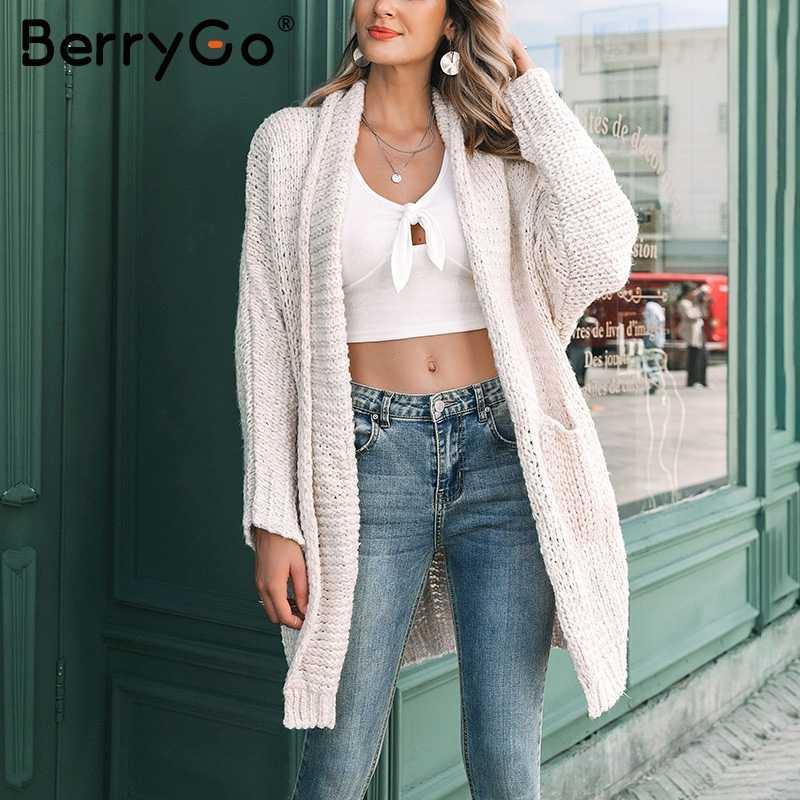 BerryGo длинный женский кардиган Повседневный Свободный кардиган большого размера 2018 вязаный женский свитер женский осенне-зимний свитер пальто джемпер