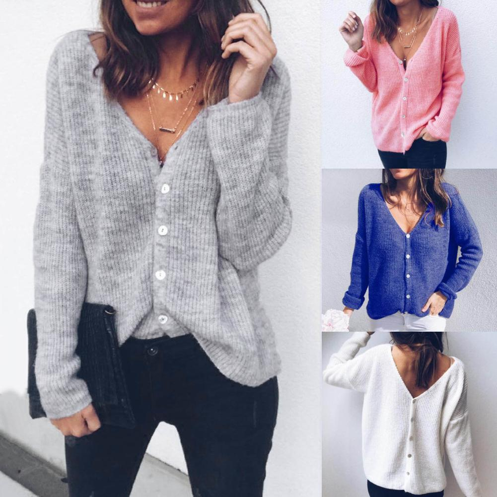 Autumn Winter Lady Casual Solid Color Button V Neck Long Sleeve Sweater Cardigan