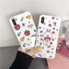 Milky white cute cartoon naked bear tempered glass explosion-proof mobile phone case for iPhone X Xs Xr Max10 11pro 8 7 6 6sPlus(China)