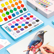 12/18/24/36/48Colors Water Color Pigment Set Students Cute Iron Box Watercolor Painting Hand-painted Gifts Art Supplies