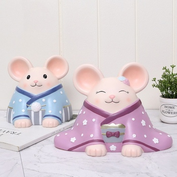 Creative Cartoon Mouse Piggy Bank Blessed Mouse Companion Desktop Small Decoration New Year Valentines Day Home Decoration