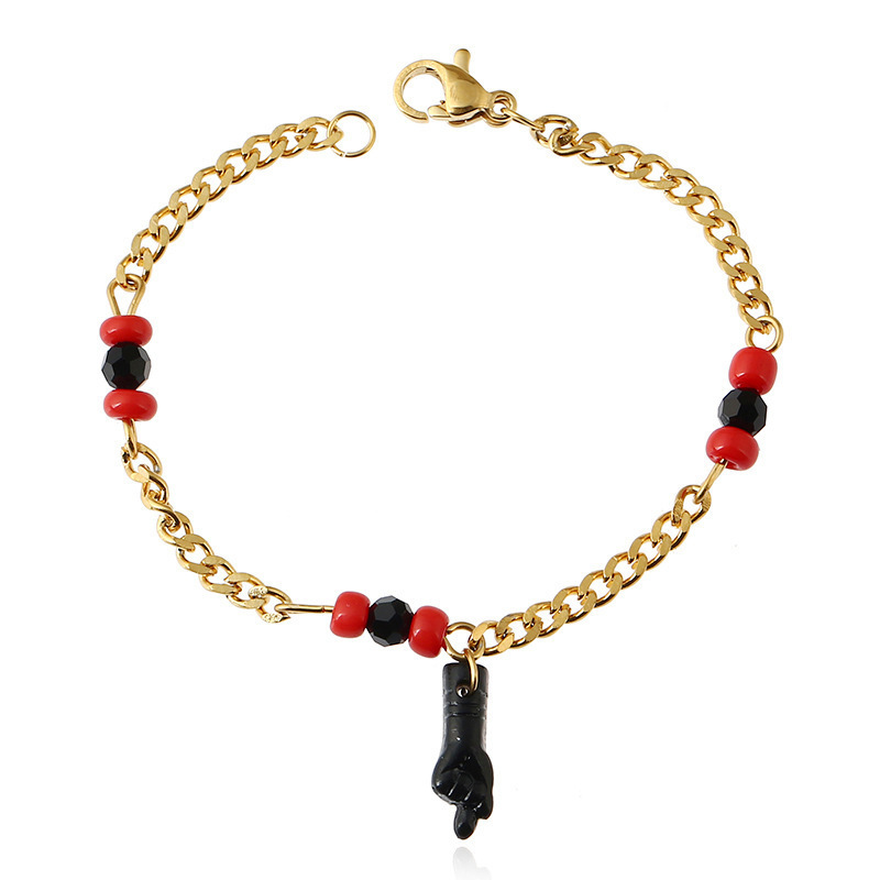 New Titanium Steel Electroplated Small Hand Tire Baby Child Ankle Golden pendant Inlaid Anklet Jewelry S022