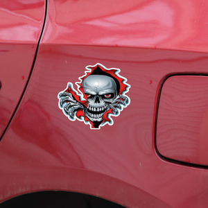 Image 4 - 1PC Red Eyed Skull Computer Stickers PET Vinyl Laptop Skin Sticker Moto Car Suitcase Decoration Decal for MacBook Air 11 13