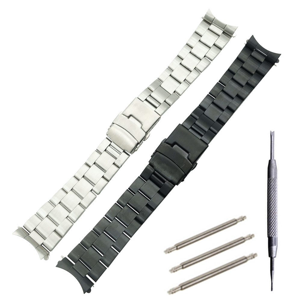 <font><b>20mm</b></font> 22mm Version Stainless Steel Watch Band Bracelets Curved end Replacement For <font><b>Seiko</b></font> SKX007 SKX009 SKX011 <font><b>Watchband</b></font> Replace image