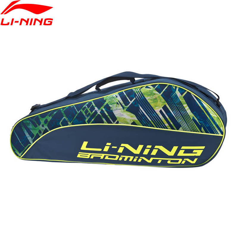 Li-Ning Badminton Rackets Bag For 3 Packs Load Polyester LiNing Professional Racquet Sport Bags ABJP062 ZYF347