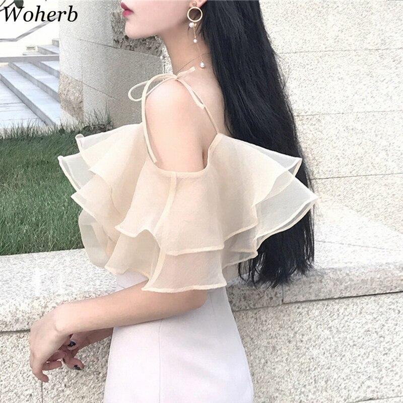 Woherb Sommer Off Schulter Solide Top Frauen 2019 Organza Bluse Elegante Rüschen Shirts Koreanische Vintage Strap Blusas 21400