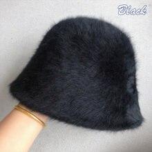 Зимние вязаные шерстяные шапки с кроличьим мехом для женщин