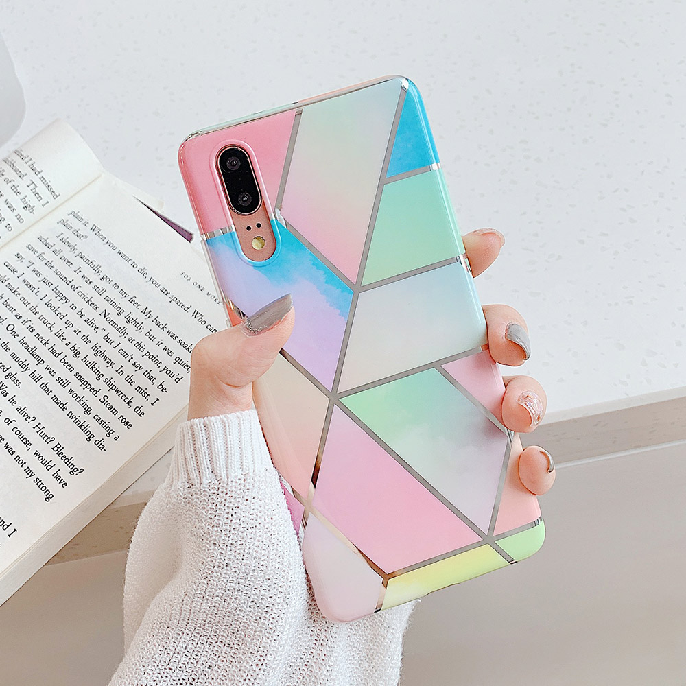 LOVECOM Plating Geometric Marble Phone Case For Huawei P40 Pro P30 P20 Lite Pro Mate 30 20 Lite Glossy Soft IMD Phone Back Cover 2