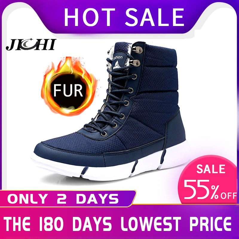 2019 New Winter Men Boots Fur Warm Lightweight Snow Boots Waterproof Men Shoes Casual Footwear Male High Quality Fashion 36-48