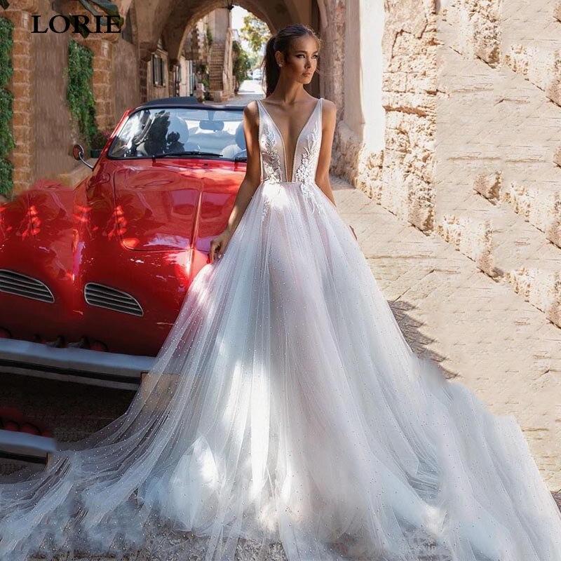 LORIE Boho Wedding Dress A Line Sexy V Neck Appliques Lace Bridal Gowns Vestidos De Novia 2020 Wedding Gowns Custom Made