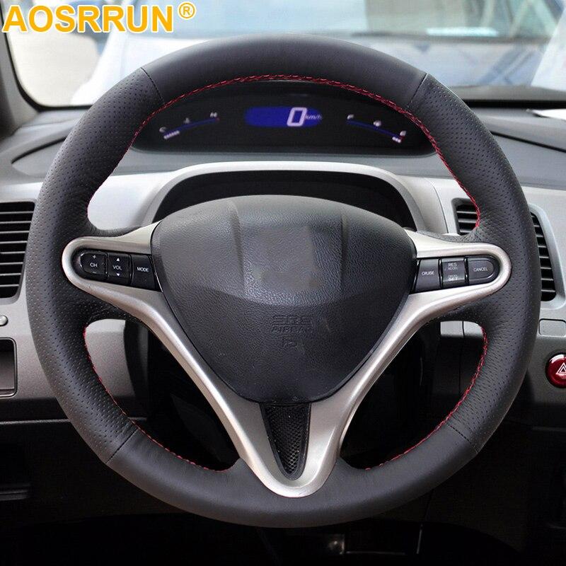 AOSRRUN авто-Стайлинг кожа ручная прошивка Чехлы рулевого колеса автомобиля для Honda Civic 2005-2011 8th MK8 автомобильные аксессуары