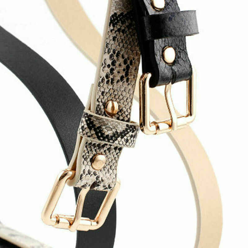 Hirigin ผู้หญิง VINTAGE Leopard พิมพ์เข็มขัดโลหะหัวเข็มขัดหนัง Faux Snakeskin ยืดยืดหยุ่นเลดี้เข็มขัดเอว