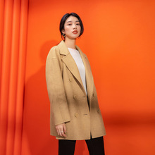 Shuchan 100% Wool Coat Women High Quality Double Breasted Button Wide-waisted Turn-down Collar Solid Office Lady Winter Jackets