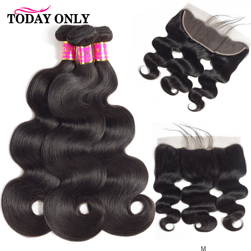 TODAY ONLY Peruvian Body Wave Bundles With Frontal Remy Human Hair Bundles With Frontal 13x4 Lace Frontal Closure With Bundles