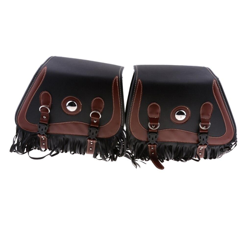 Черные и коричневые кожаные мотоциклетные сумки с кисточками в стиле ретро