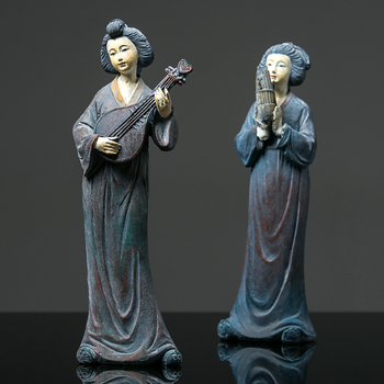 New Chinese Style Retro Tang Dynasty Lady Character Statue Classical Beautiful Women Figurine Resin Crafts Home Decoration R3951