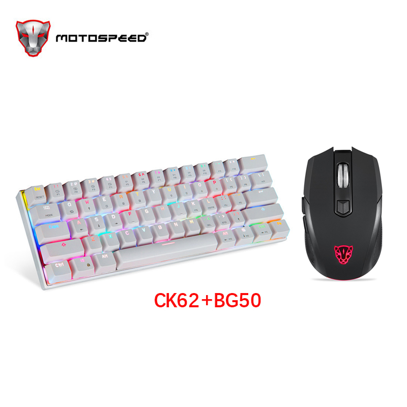 MOTOSPEED CK62 Keyboard Wired/Bluetooth Keyboard Dual Mode Mechanical Keyboard 61 Keys RGB LED Backlight BG60 Wired Gaming Mouse