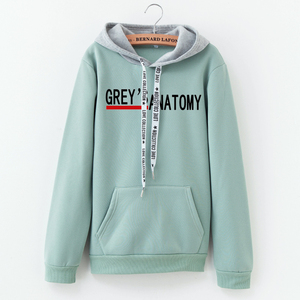 LANSHANQUE Hoodies Women 2019 Autumn Greys Anatomy Letter Printing Color Matching Sweatshirt Fashion Cotton Women Tops(China)