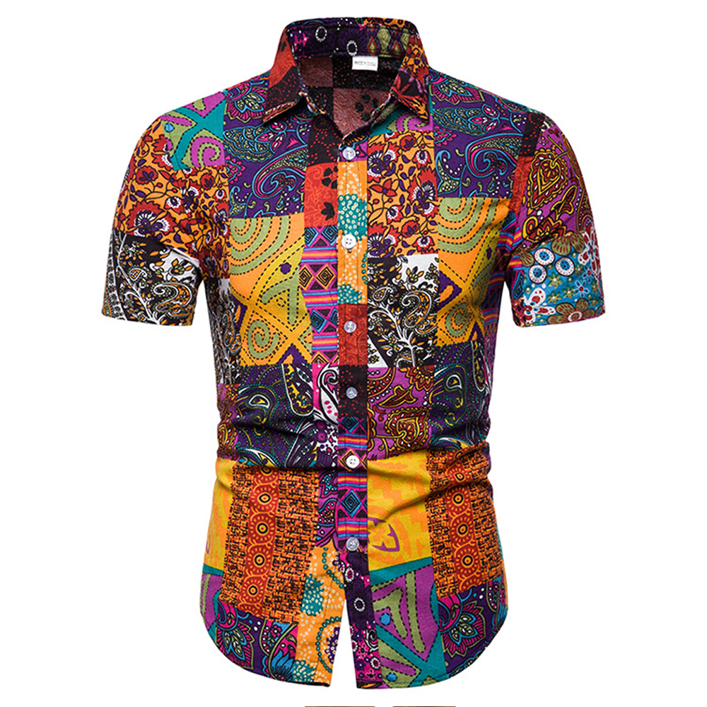 New Arrival Men Shirts Cotton Printed Short Sleeve Casual Turn-down Collar Shirts Tie Summer Fashion Clothing