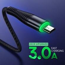 Mikro USB şarj kablosu 3A USB LED veri kablosu Samsung HTC LG cep telefonu için USB şarj kablosu Android Tablet USB kablosu tel