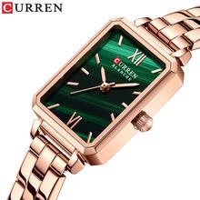 2021 CURREN nowych kobiet zegarki stylowe eleganckie prostokątne małe zielone panie zegarek wodoodporny zegar kwarcowy kobiet Relogio tanie tanio CRRJU QUARTZ NONE Składane bezpieczne zapięcie CN (pochodzenie) STOP 3Bar Luxury ru 10mm Rectangle Odporne na wodę Hardlex