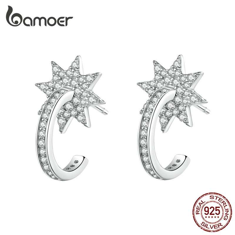 Bamoer Bright Stars Simple Earrings Female Statement Wedding Engagement Jewelry Clear CZ 925 Sterling Silver Bijoux Gifts BSE258
