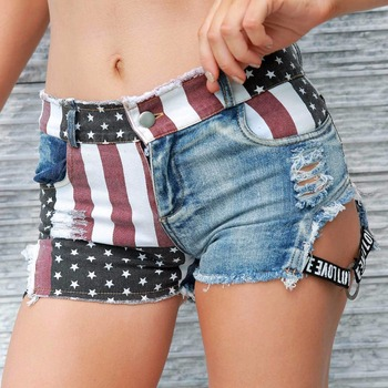 New Sexy Women's High Waist Hole Daisy Duke Ripped Denim Shorts American Flag Printed Denim Thong Shorts daisy printed empire waist handkerchief tankini