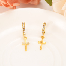 CZ Gold Filled Women's Drop Earring Dangle Earring Charms Jewelry religions Christian Cross Earrings brincos Vintage girls gift gold african dubai filled women s drop earring flower dangle earring charms jewelry earrings brincos vintage girls kids gift